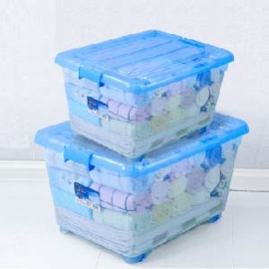 garments stored in plastic boxes