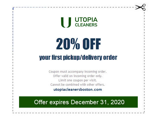 20% off coupon for first laundry or dry cleaning pickup and delivery order