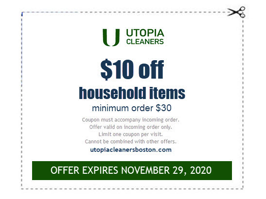 $10 off comforters blankets dry cleaning coupon