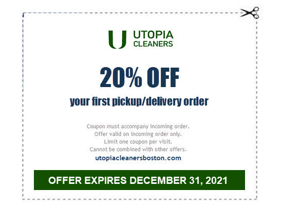 20% OFF FIRST DRYCLEANING PICKUP DELIVERY COUPON